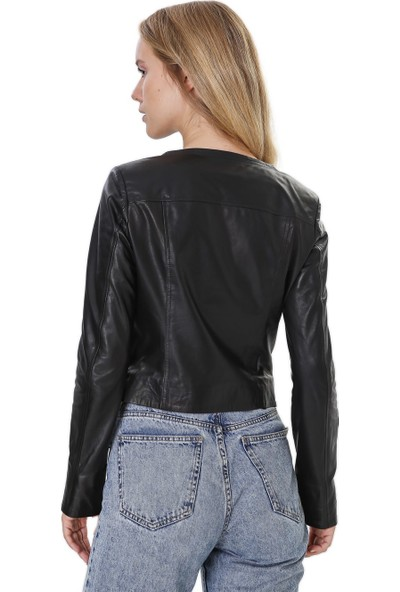 Franko Armondi Kadın Gerçek Deri Klasik Ceket Siyah BK-1557-19913 Fa4