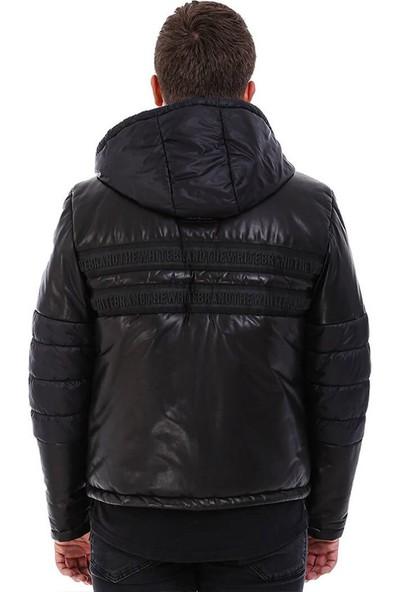 Franko Armondi Erkek Gerçek Deri Spor Kapşonlu Mont Siyah K-1535 KISA-20081 Fa5