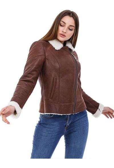 Franko Armondi Kadın Gerçek Deri Klasik Kışlık Biker Mont Viski BK-1593 - 20124 Fa5