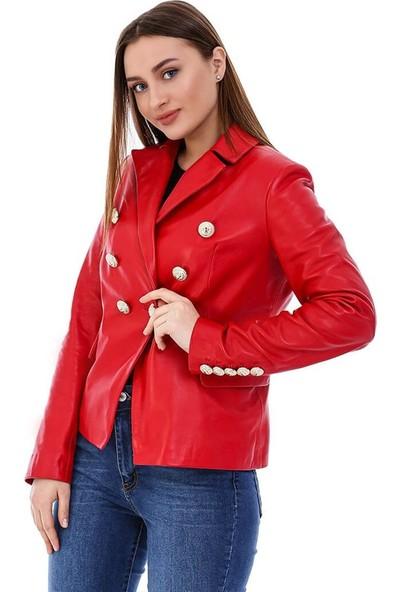 Franko Armondi Kadın Gerçek Deri Klasik Ceket Kırmızı BK-1596-20151 Fa5