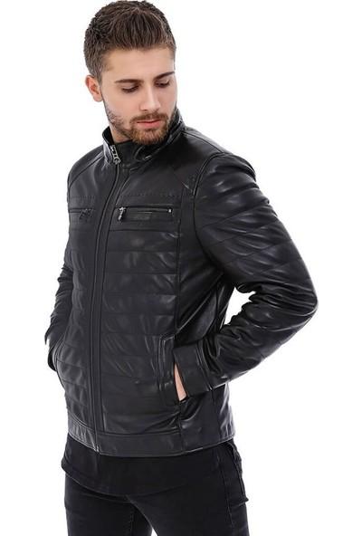 Franko Armondi Erkek Gerçek Deri Klasik Ceket Siyah K-599-17033 Fa5