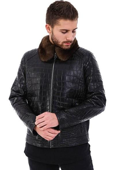 Franko Armondi Erkek Gerçek Deri Spor Luxury Kroko Ceket Siyah K-990-18479 Fa5