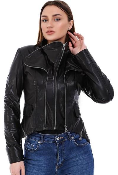 Franko Armondi Kadın Gerçek Deri Spor Boy Ayarlı Ceket Siyah BK-1617-20149 Fa5