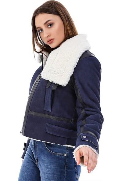 Franko Armondi Kadın Gerçek Deri Spor Kışlık Mont Lacivert BK-1620- 20192 Fa5