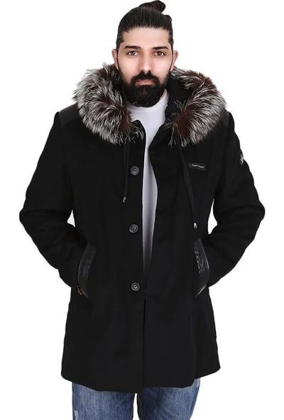 Franko Armondi Erkek Kaşmir Klasik Luxury Kaban Rakun Kapşon Şerit ER-366-20270 Fa6