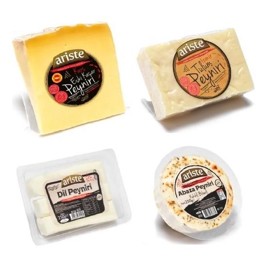 Ariste 4 Çeşit Peynir 1100 gr (Kars Eski Kaşar, Izmir Tulum, Dil Peyniri , Kekikli Biberli Abaza)