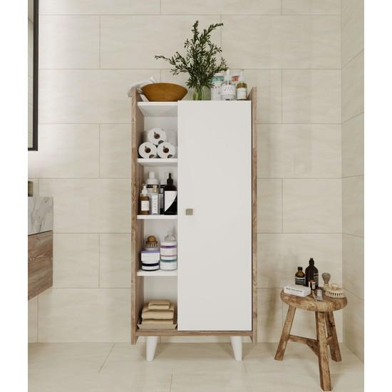 intarz Modern Banyo Dolabı Ceviz-Beyaz