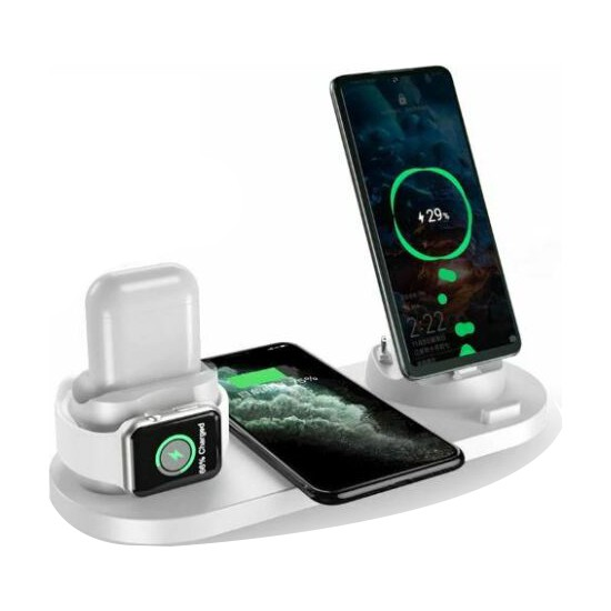 Daytona Apple Kablosuz Wireless Hızlı Şarj Standı iWatch Airpods iPhone 11 11 Pro 12 12 Pro XS XR 8 Samsung Uyumlu-Beyaz