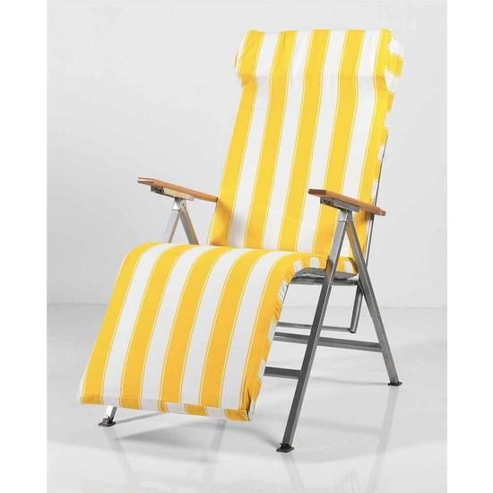 Weblonya Bahce Şezlong Katlanır Sandalye Plaj Koltuğu Minderli 2147
