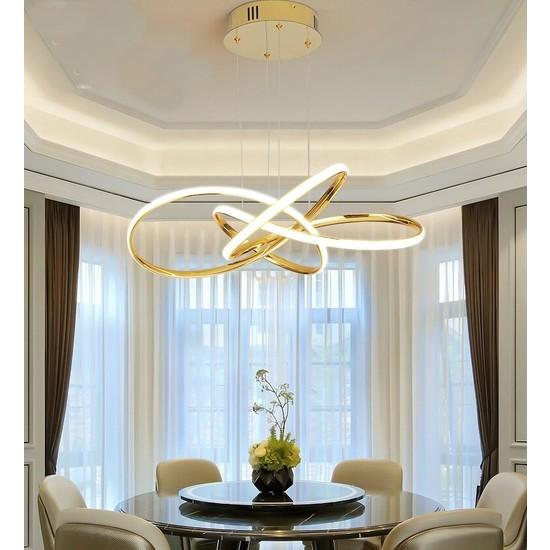 Burenze Gold Sarı A+ Modern Sarkıt Power LED Avize Concept Ürün Beyaz Işık BURENZE523