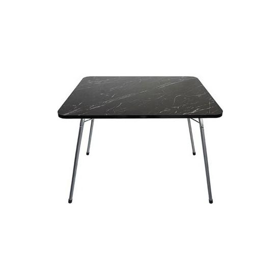Marketonya 60X80 cm Siyah Granit Desenli Portatif Katlanır Masa Piknik Kamp Masası Bahçe Masası Kamp
