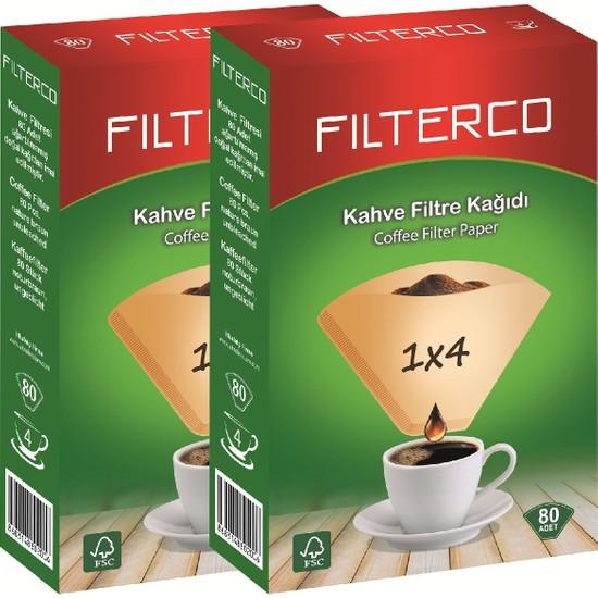 Filterco Kahve Filtre Kağıdı 1x4 80'li 2 Paket 160'LI