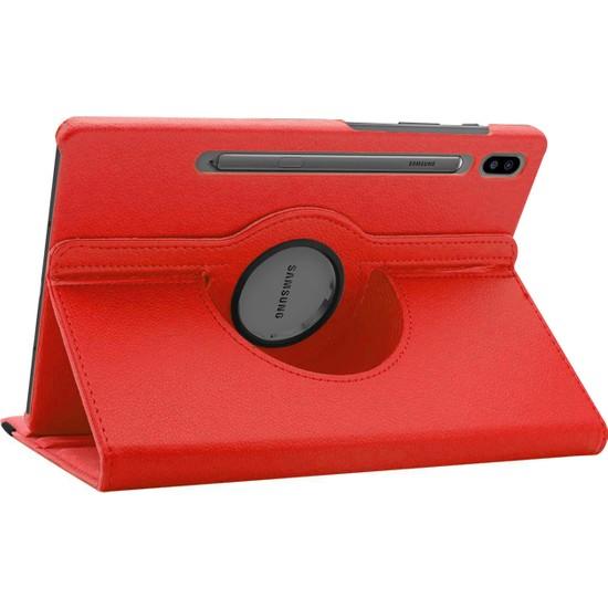 BizimGross Samsung Galaxy Tab S6 10.5 Inç T860 360 Derece Dönebilen Kapaklı Tablet Kılıfı Kırmızı