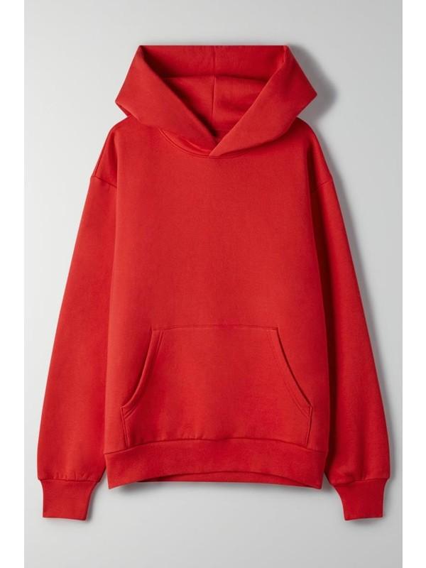Soufeel Kırmızı Classic Kadın Kapüşonlu Sweatshirt. Hoodie