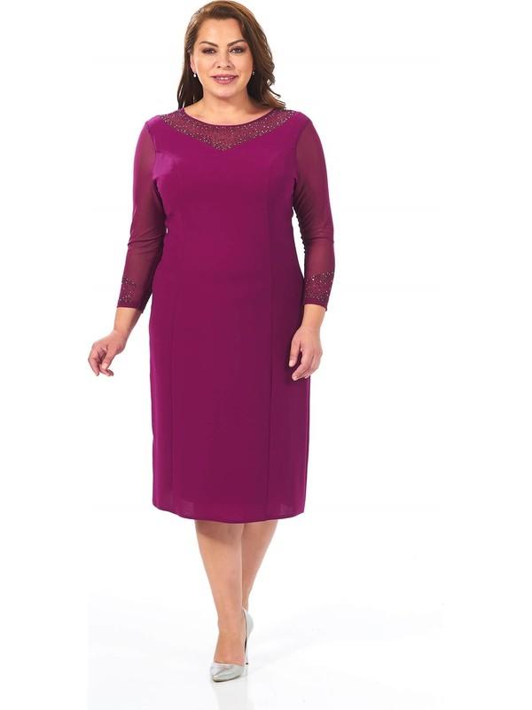 Lilas Xxl Büyük Beden Fuşya Renkli Krep Elbise