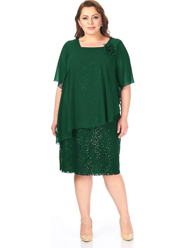 Lilas Xxl Büyük Beden Yeşil Renkli Dantel Abiye Elbise
