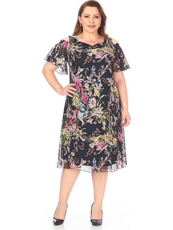 Lilas Xxl Büyük Beden Çalı Desenli Şifon Elbise