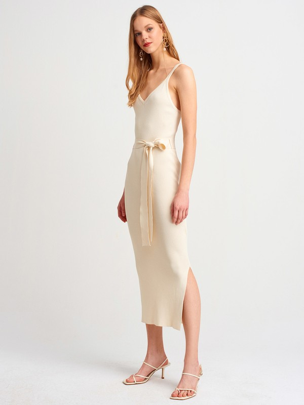 Dilvin 2616 Askılı Elbise-Natural