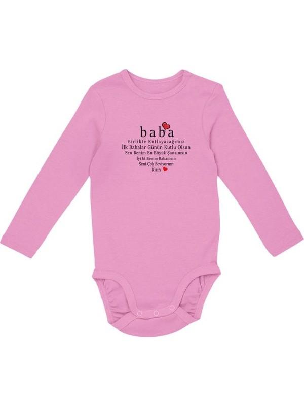 Angemiel Baby Babalar Günü Kız Bebek Uzun Kollu Zıbın Pembe