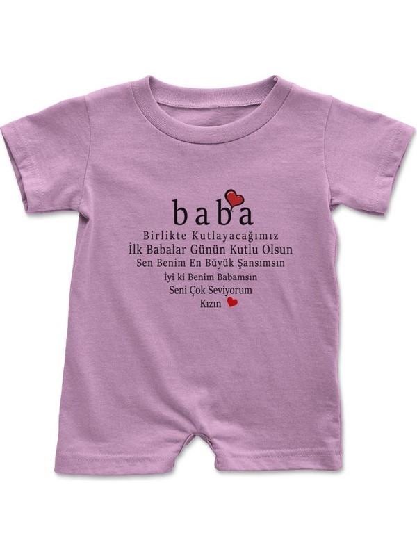 Angemiel Baby Babalar Günü Kız Bebek Çıtçıtlı Zıbın Tulum Pembe