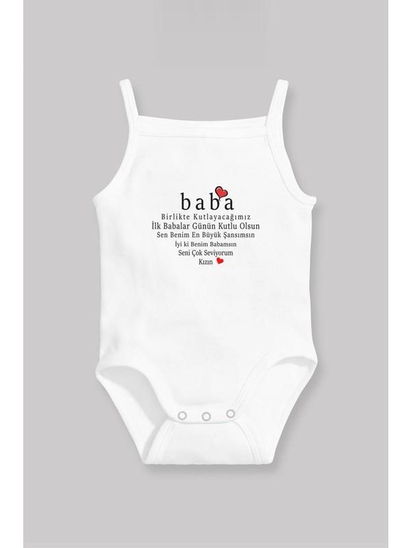 Angemiel Baby Babalar Günü Kız Bebek Askılı Zıbın Atlet Beyaz