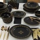Keramika Riva Mat Siyah Gold Yemek Takımı 24 Parça 6 Kişilik