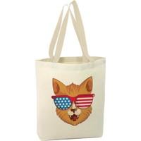 Angemiel Bag Amerikan Gözlüklü Kedi Alışveriş Plaj Bez Çanta