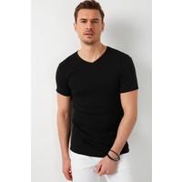 Buratti % 100 Pamuklu V Yaka Basic T Shirt Erkek T Shirt 5902144