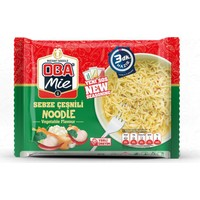 Oba Mie Noodle Hazır Makarna Sebzeli 75 gr x 12 + (5 Adet Çaykur Altın Süzen Poşet Bardak Çay)