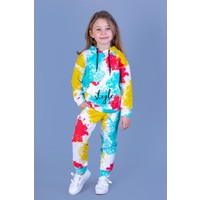 Toontoy Kids Kız Çocuk Renkli Batik Desenli Kanguru Cepli Eşofman Takımı