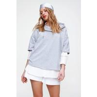 Pinkpark Kadın Gri Melanj Kapüşonlu Basic Sweatshirt FS00003
