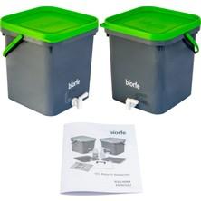 Biorfe Bokashi Kompost Kovası 18 Litre Ikili Set