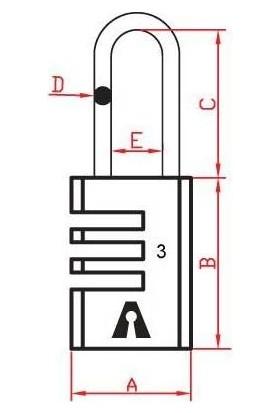 Dura Kilit Pirinç Gövde Çelik Kanca Şifreli Asma Kilit 21 mm Dk-1