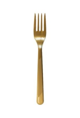 Parti Dünyası Altın Renk Plastik Çatal 25 Adet