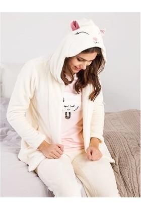 Magic Form 30853 Fermuarlı Polar Pijama Takımı - Ekru