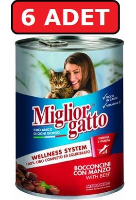 Miglior Gatto Biftek Sığır Etli Kedi Maması 6 Adet x 405 gr Konserve Yaş Mama