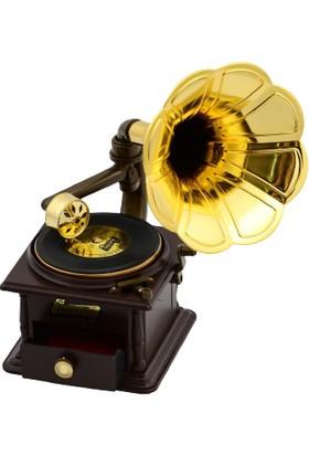 Hadidurmaal Gramafon Şeklinde Dekoratif Müzik Kutusu