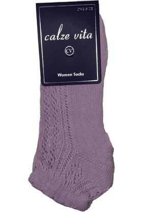 Calze Vita Pembe Delikli Desenli Patik Kadın Çorabı