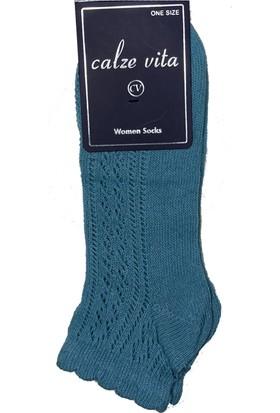 Calze Vita Turkuaz Delikli Desenli Patik Kadın Çorabı