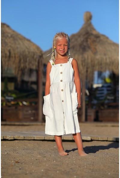 Baby Rapapa Kız Çocuk Beyaz Düğmeli ELBISE1243-