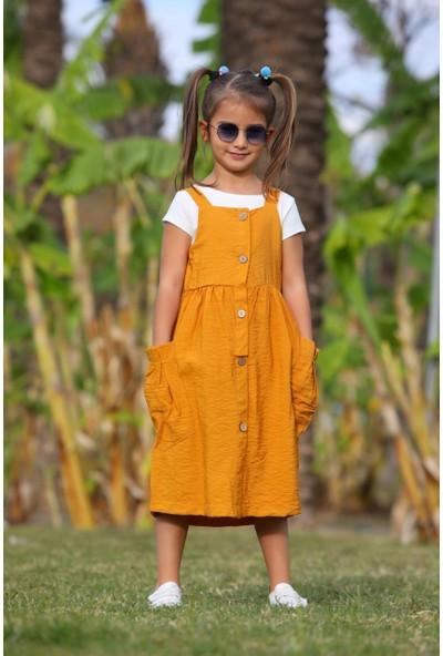 Baby Rapapa Kız Çocuk Hardal Düğmeli Elbise 1250-