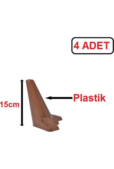 Zirve Plastik Ayak - Baza Ayağı Koltuk-Kanepe Ayağı Puf-Tv Ünitesi Ayağı 15 cm Ceviz Renk 4 Adet