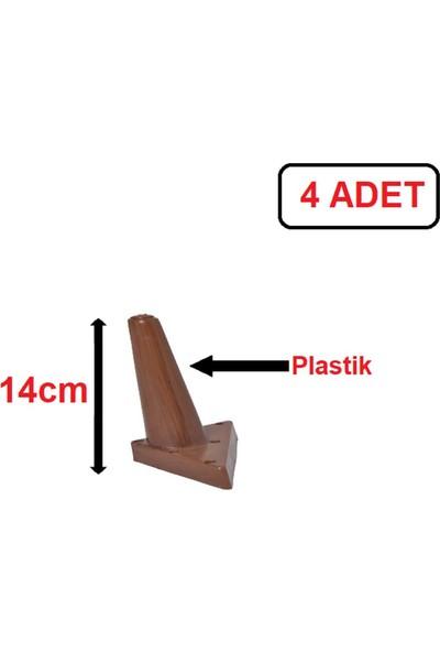 Sena Plastik Ayak - Baza Ayağı Koltuk-Kanepe Ayağı Puf-Tv Ünitesi Ayağı 14 cm Ceviz Renk 4 Adet