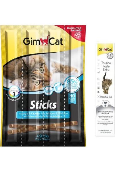 Gim Cat Gimcat Sticks Somon Morina Balık Kedi Ödül 4'lü 20GR+50 gr Taurine Paste