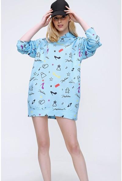 Pinkpark Kadın Mavi Kapşonlu Dijital Baskılı Oversize Sweatshirt MDA-1112