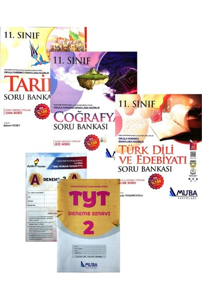 Muba Yayınları 11. Sınıf Edebiyat+Tarih+Coğrafya Soru Bankası Yeni (Aydın+Muba TYT Denemeli)