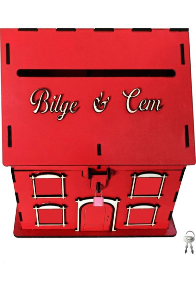 Artas Kişiye Özel Kırmızı Ahşap Kumbara ve Tip Box Kutusu