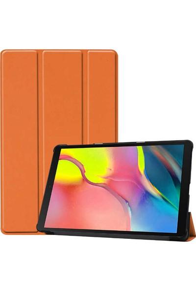 Wowlett Samsung Galaxy Tab S6 Lite (P610-P615-P617) Kılıf 360 Derece Pu Deri Smart Akıllı Kapak Kılıf Turuncu