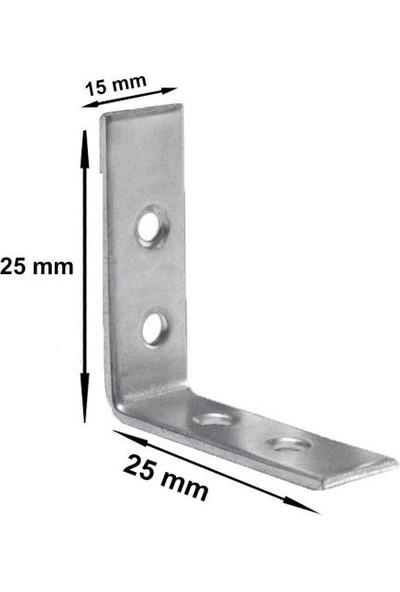 Nobel 10 Adet Mobilya Dolap Köşe Bağlantı Sabitleme L Demir Gönye (25X25X15 Mm)