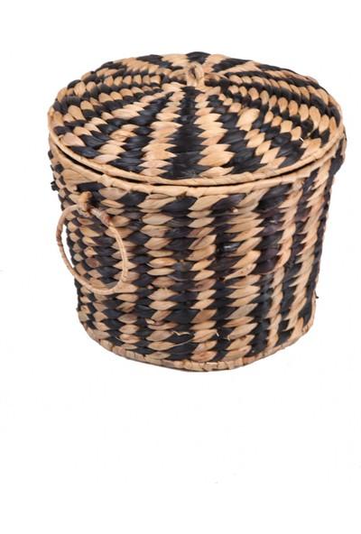 Evistro Dekoratif Kapaklı Yuvarlak Hasır Çamaşır Sepeti 3 Lü